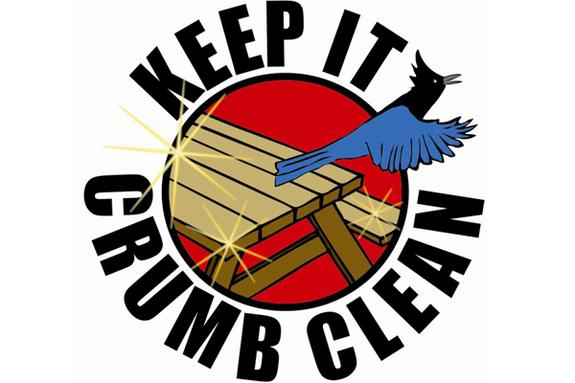 A graphic developed by the Redwood National and State Parks to encourage campers to clean up their food crumbs.