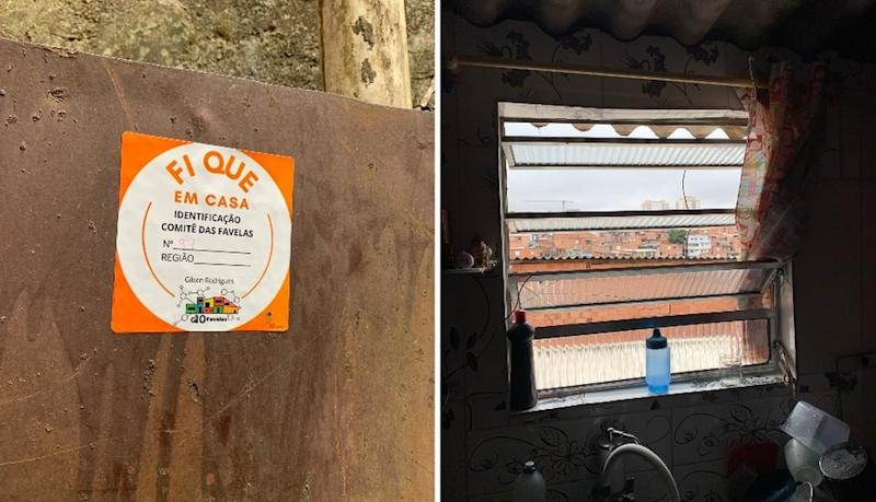 Side-by-side images showing a sticker and a kitchen window