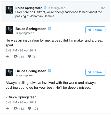 "Springsteen: ""He was an inspiration for me, a beautiful filmmaker and a great spirit."""