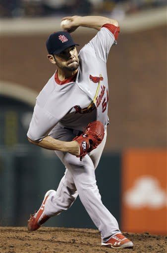 St. Louis Cardinals pitcher Jaime Garcia (54) delivers against the San Francisco Giants during the fifth inning of a baseball game in San Francisco, Wednesday, May 16, 2012. (AP Photo/Jeff Chiu)