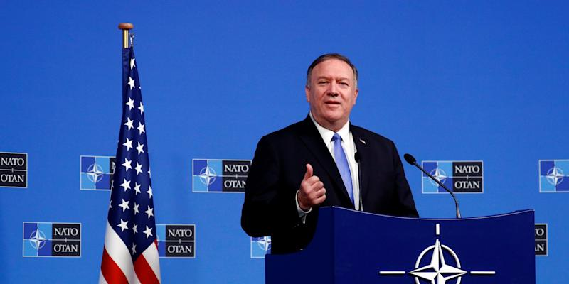FILE PHOTO: U.S. Secretary of State Mike Pompeo holds a news conference at the Alliance headquarters in Brussels, Belgium November 20, 2019. REUTERS/Francois Lenoir