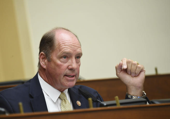 Rep. Ted Yoho, R-Fla., questions witnesses before a House Committee on Foreign Affairs hearing looking into the firing of State Department Inspector General Steven Linick, Wednesday, Sept. 16, 2020 on Capitol Hill in Washington. (Kevin Dietsch/Pool via AP)