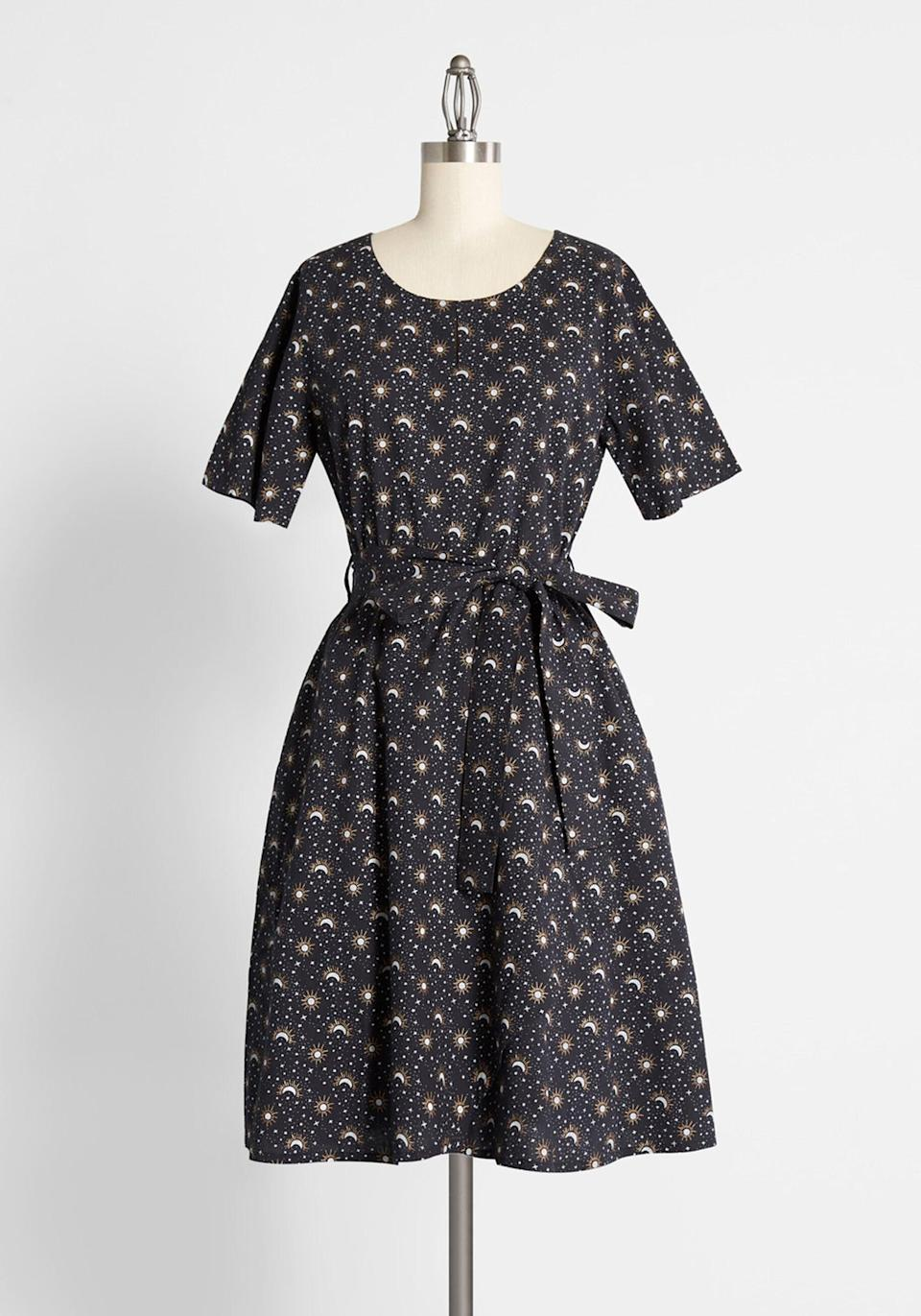 <p>The stars aligned for you to consider the <span>Consulting the Stars A-Line Dress</span> ($99).</p>