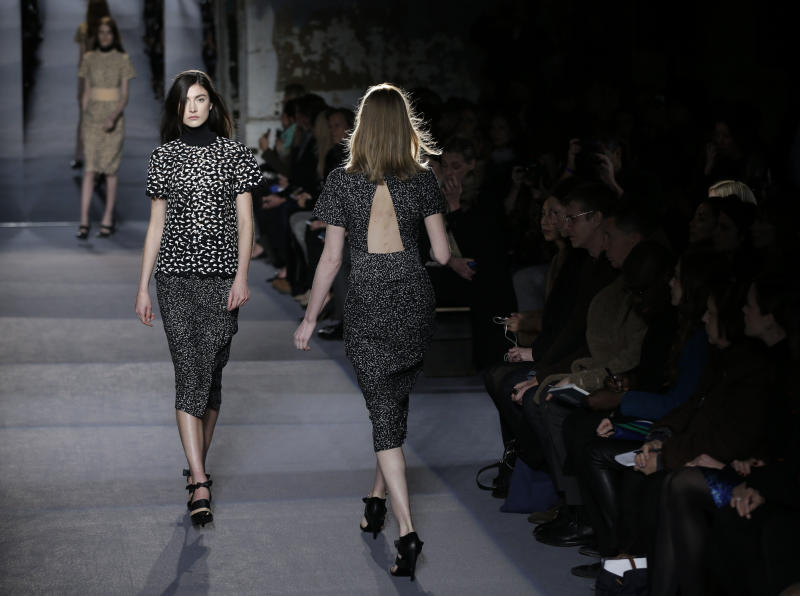 The Proenza Schouler Fall 2013 collection is modeled during Fashion Week in New York, Wednesday, Feb. 13, 2013.  (AP Photo/Seth Wenig)
