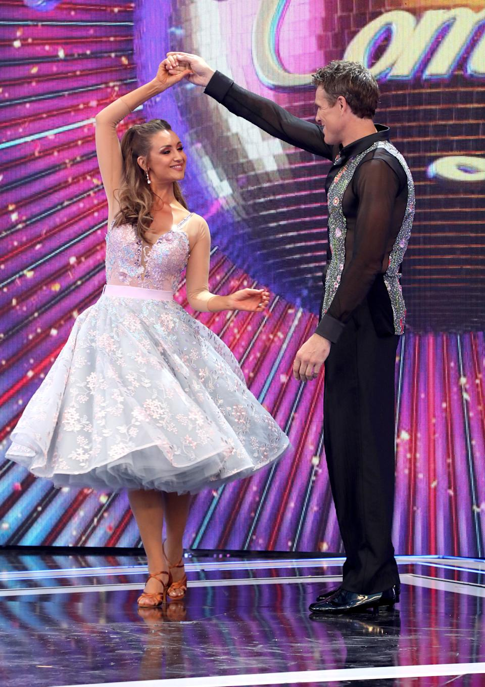 """LONDON, ENGLAND - AUGUST 26:  Catherine Tyldesley and James Cracknell on stage at the """"Strictly Come Dancing"""" launch show at Television Centre on August 26, 2019 in London, England. (Photo by Lia Toby/Getty Images)"""