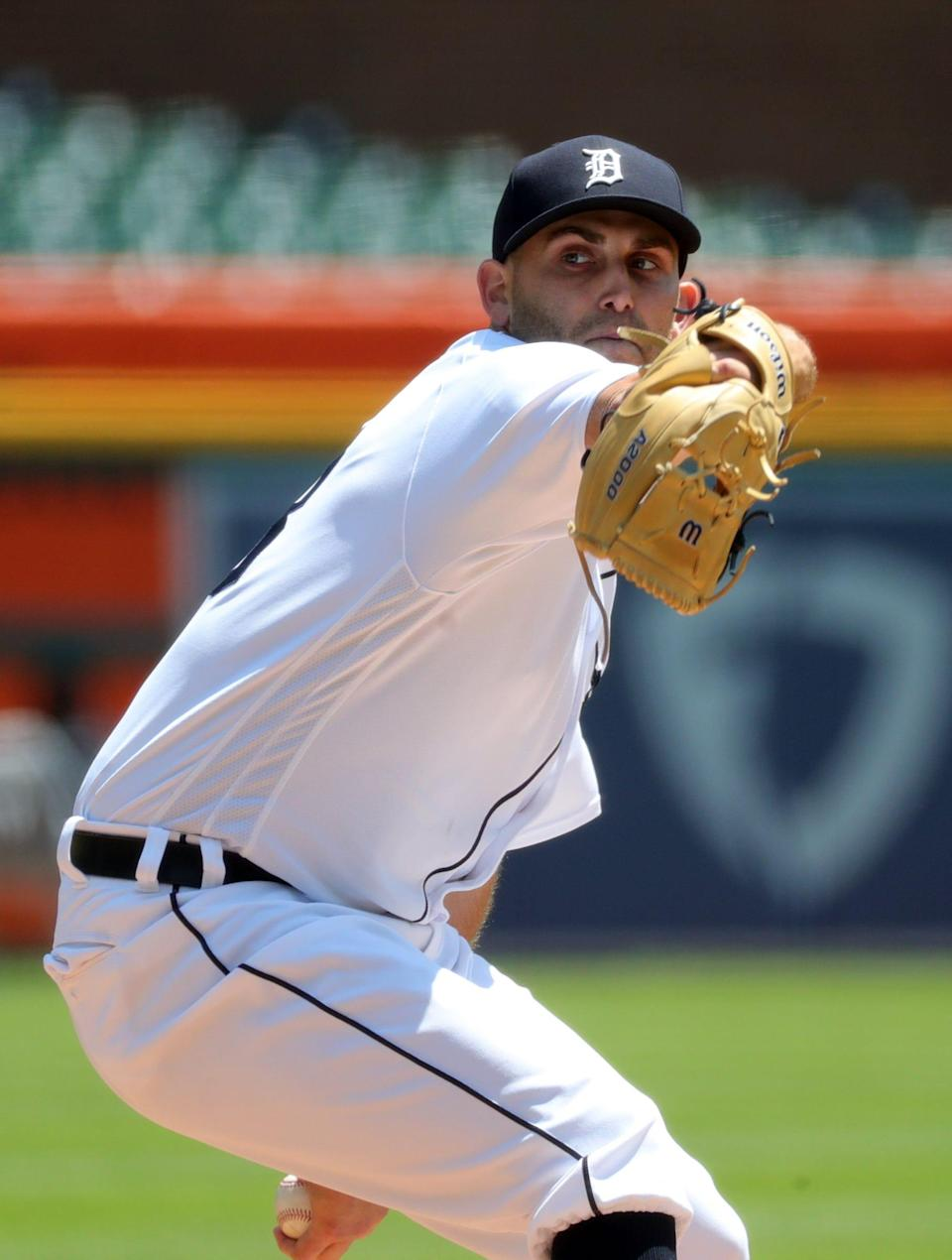 Tigers pitcher Matthew Boyd throws against Cleveland during the third inning on Thursday, May 27, 2021, at Comerica Park.