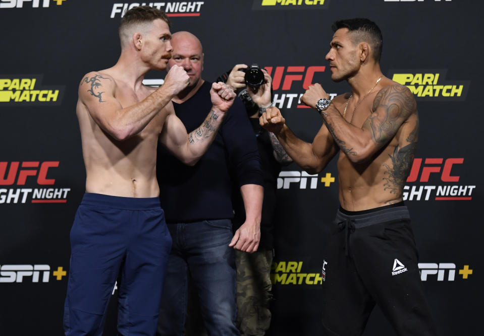 LAS VEGAS, NEVADA - NOVEMBER 13: In this UFC handout,  (L-R) Opponents Paul Felder and Rafael Dos Anjos of Brazil face off during the UFC weigh-in at UFC APEX on November 13, 2020 in Las Vegas, Nevada. (Photo by Jeff Bottari/Zuffa LLC via Getty Images)