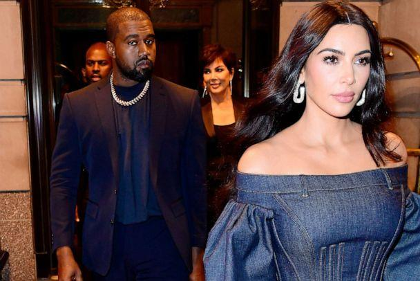 PHOTO: Kim Kardashian-West and Kanye West exit a hotel accompanied by Kris Jenner in the Manhattan area of New York on Nov 6, 2019. (Raymond Hall/GC Images, FILE)
