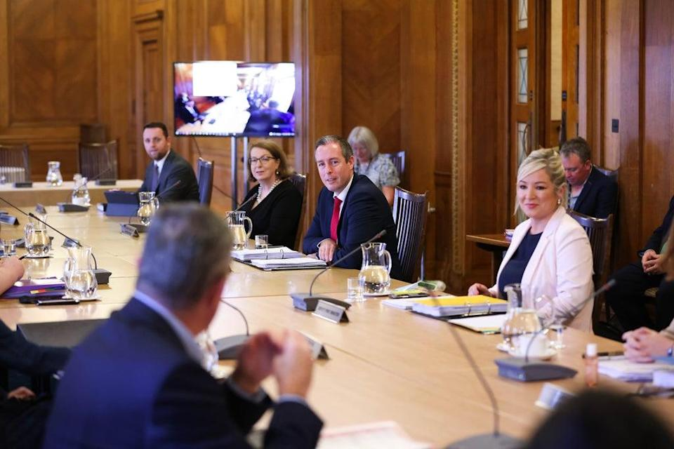 First Minister Paul Givan and deputy First Minister Michelle O'Neill attend the first in-person Executive meeting since last October (Press Eye/PA) (PA Media)