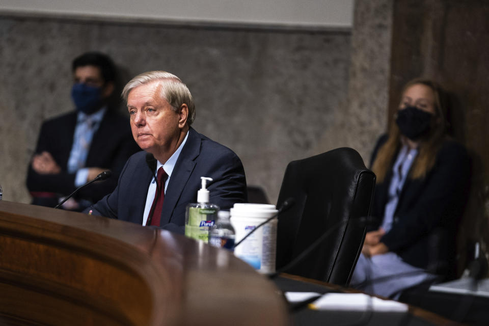 Sen. Lindsey Graham, R-S.C., listens at a hearing with the Senate Appropriations Subcommittee on Labor, Health and Human Services, Education, and Related Agencies, on Capitol Hill in Washington, Wednesday, Sept. 16, 2020. (Anna Moneymaker/New York Times, Pool via AP)