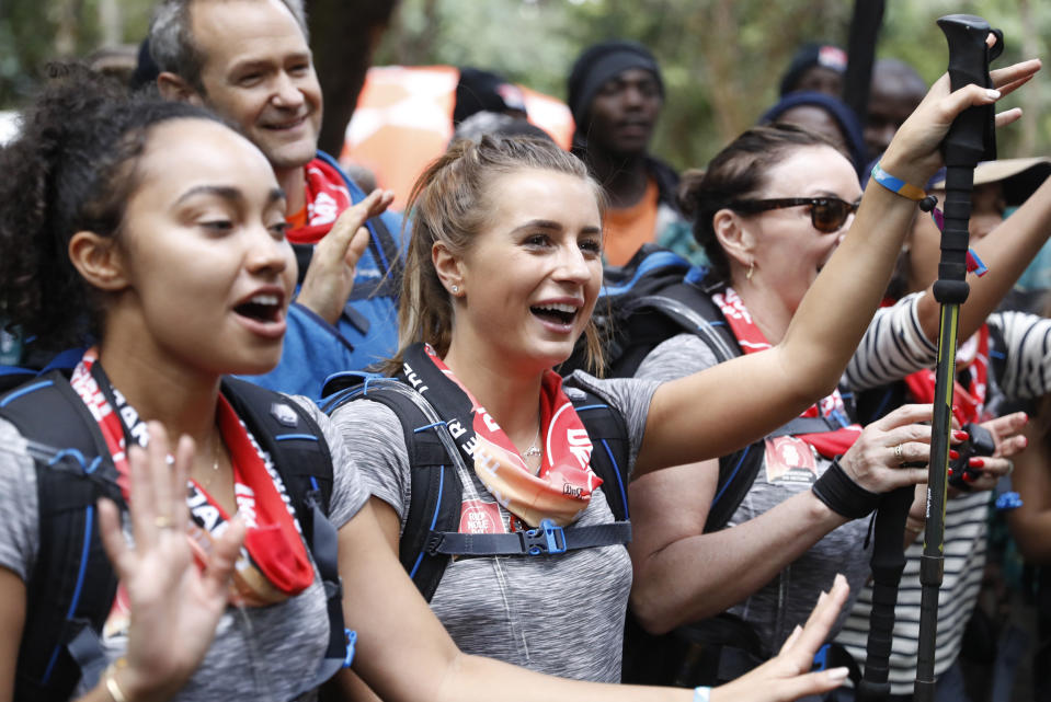 ARUSHA, TANZANIA - FEBRUARY 23: (STRICTLY EDITORIAL USE ONLY) Leigh-Anne Pinnock, Dani Dyer, Shirley Ballas and Alexander Armstrong arrive in camp on day 1 of 'Kilimanjaro: The Return' for Red Nose Day on February 23, 2019 in Arusha, Tanzania, all to raise funds for Comic Relief supported projects in the UK and around the world. (Photo by Chris Jackson / Getty Images for Comic Relief)