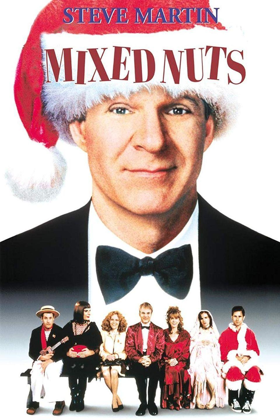 """<p>This 1994 Nora Ephron dramedy stars Steve Martin as the director of a crisis hotline on Christmas Eve.</p><p><strong><a class=""""link rapid-noclick-resp"""" href=""""https://www.amazon.com/Mixed-Nuts-Caroline-Aaron/dp/B0094LSSZU/?tag=syn-yahoo-20&ascsubtag=%5Bartid%7C10055.g.1315%5Bsrc%7Cyahoo-us"""" rel=""""nofollow noopener"""" target=""""_blank"""" data-ylk=""""slk:WATCH NOW"""">WATCH NOW</a></strong></p>"""