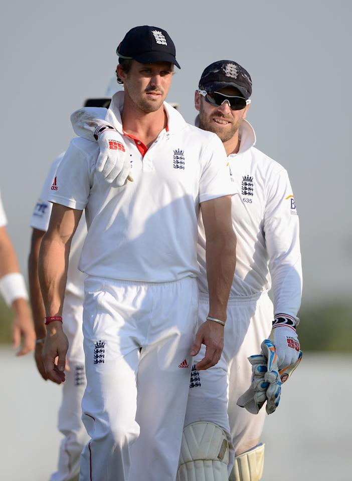 AHMEDABAD, INDIA - NOVEMBER 11:  Nick Compton and Matt Prior of England during day four of the tour match between England and Haryana at Sardar Patel Stadium ground B on November 11, 2012 in Ahmedabad, India.  (Photo by Gareth Copley/Getty Images)