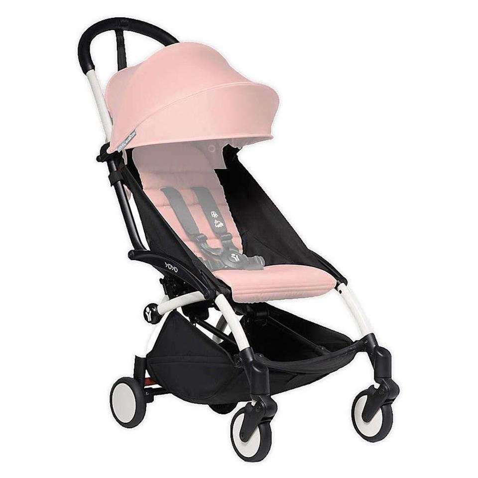 """<p><strong>Babyzen</strong></p><p>buybuybaby.com</p><p><strong>$449.99</strong></p><p><a href=""""https://go.redirectingat.com?id=74968X1596630&url=https%3A%2F%2Fwww.buybuybaby.com%2Fstore%2Fproduct%2Fbabyzen-trade-yoyo-stroller-frame%2F5487244&sref=https%3A%2F%2Fwww.bestproducts.com%2Fparenting%2Fg37348107%2Fsit-and-stand-strollers%2F"""" rel=""""nofollow noopener"""" target=""""_blank"""" data-ylk=""""slk:Shop Now"""" class=""""link rapid-noclick-resp"""">Shop Now</a></p><p>When you pair this stroller with its <a href=""""https://go.redirectingat.com?id=74968X1596630&url=https%3A%2F%2Fwww.buybuybaby.com%2Fstore%2Fproduct%2Fbabyzen-yoyo-board-in-black%2F1061739710%3Fkeyword%3Dbabyzen%26wmSkipPwa%3D1&sref=https%3A%2F%2Fwww.bestproducts.com%2Fparenting%2Fg37348107%2Fsit-and-stand-strollers%2F"""" rel=""""nofollow noopener"""" target=""""_blank"""" data-ylk=""""slk:YoYo board,"""" class=""""link rapid-noclick-resp"""">YoYo board,</a> which is part seat, part kickboard, you have a fantastic stroller system. </p><p>And wonder of wonders, the whole thing folds up and fits in the overhead compartment of a plane or train. No, we're not kidding. </p><p>It's a wipe-clean format, and while we wish it were machine washable, the fabric seems pretty resistant to stains. It's lightweight, there's a bassinet option, and the handle feels really nice under your hand. Yes, this is one of the pricier options, but if you're getting this as your first stroller, you'll be extremely happy with your investment.</p><p>The Yolo board just clips in without any fuss and comes off just as easily. You can even store it under the stroller in a large storage bag.</p><p><strong>The Takeaway:<br></strong>Ultra compact and lightweight, this is a traveler's travel system. It's not machine-washable, but it's also not a pain to clean, making it an excellent primary stroller choice in our book. </p>"""