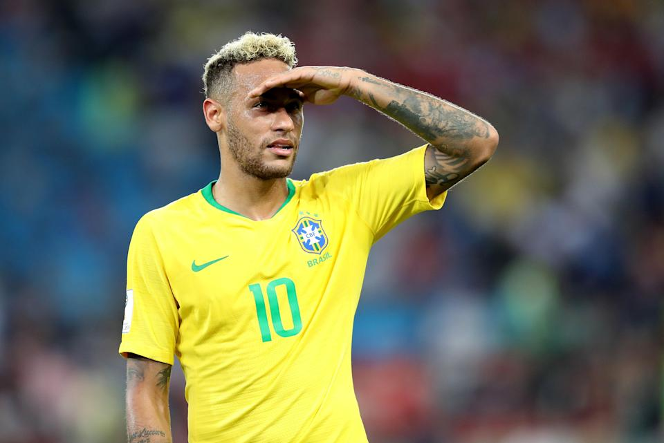 Neymar of Brazil at the FIFA World Cup 2018 preliminary round match between Serbia and Brazil in Moscow, Russia, on June 27, 2018. Brazil won 2-0. (EFE/EPA/MAHMOUD KHALED)