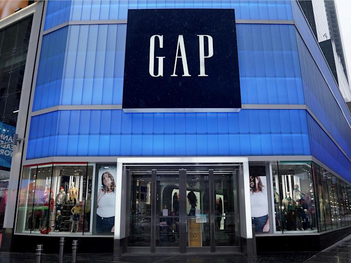 A closed Gap store in New York City's Times Square on March 23.