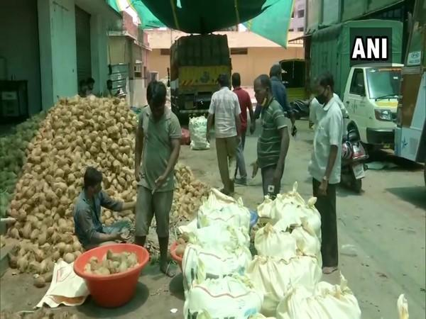 Coconut sellers in Bengaluru suffer losses as their business have been affected by COVID induced lockdown. [Photo/ANI]