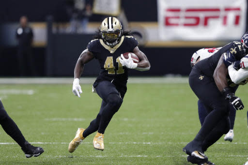 New Orleans Saints running back Alvin Kamara (41) carries in the second half of an NFL football game against the Houston Texans in New Orleans, Monday, Sept. 9, 2019. (AP Photo/Bill Feig)