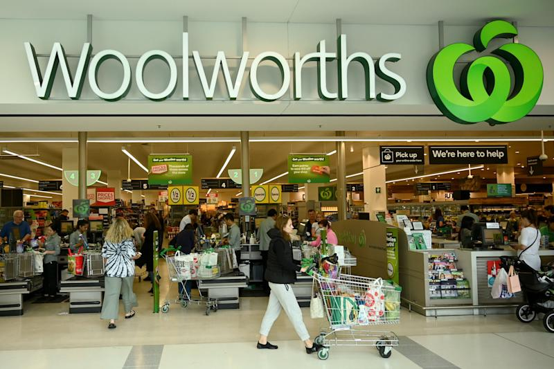 People shop at a Woolworths supermarket in Sydney