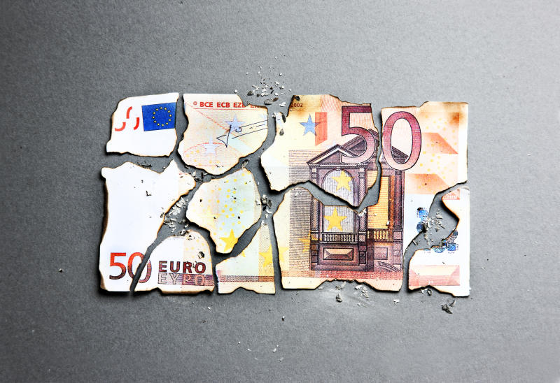 burnt 50 euro being put back togather