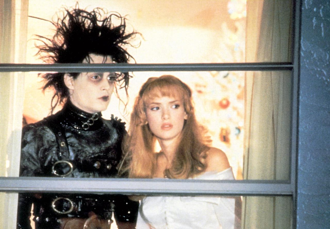 """<p><strong>Edward Scissorhands</strong> is great year-round, but it's particularly relevant around <a class=""""sugar-inline-link ga-track"""" title=""""Latest photos and news for Halloween"""" href=""""https://www.popsugar.co.uk/Halloween"""" target=""""_blank"""" data-ga-category=""""Related"""" data-ga-label=""""https://www.popsugar.co.uk/Halloween"""" data-ga-action=""""&lt;-related-&gt; Links"""">Halloween</a> and Christmas. A chunk of the movie takes place during the holiday season, when Edward (<a class=""""sugar-inline-link ga-track"""" title=""""Latest photos and news for Johnny Depp"""" href=""""https://www.popsugar.co.uk/Johnny-Depp"""" target=""""_blank"""" data-ga-category=""""Related"""" data-ga-label=""""https://www.popsugar.co.uk/Johnny-Depp"""" data-ga-action=""""&lt;-related-&gt; Links"""">Johnny Depp</a>) creates a giant ice sculpture of Kim (<a class=""""sugar-inline-link ga-track"""" title=""""Latest photos and news for Winona Ryder"""" href=""""https://www.popsugar.co.uk/Winona-Ryder"""" target=""""_blank"""" data-ga-category=""""Related"""" data-ga-label=""""https://www.popsugar.co.uk/Winona-Ryder"""" data-ga-action=""""&lt;-related-&gt; Links"""">Winona Ryder</a>). And, yes, this movie <em>is</em> scary, OK?</p>"""