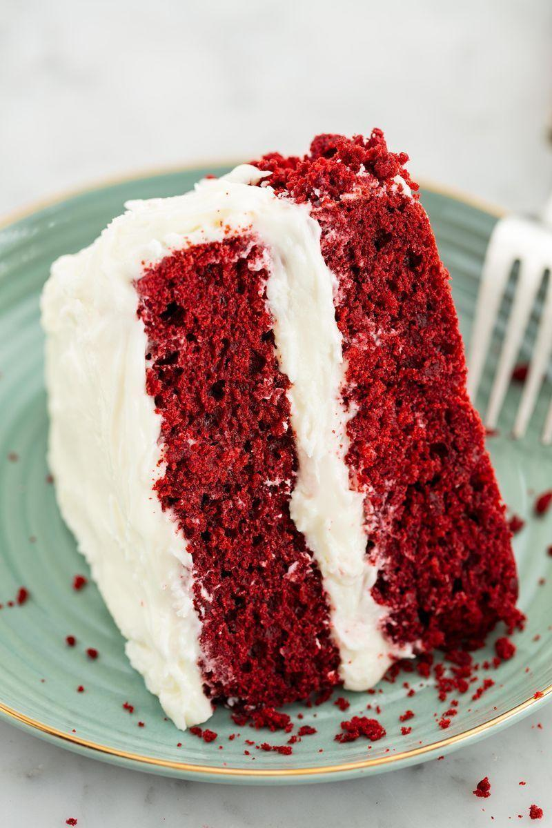 """<p>Everyone should have a good red velvet cake recipe in their back pocket—and this is it. It has a decadent chocolate flavour and the creamiest cream cheese frosting.</p><p>Get the <a href=""""https://www.delish.com/uk/cooking/recipes/a29681606/best-red-velvet-cake-recipe/"""" rel=""""nofollow noopener"""" target=""""_blank"""" data-ylk=""""slk:Red Velvet Cake"""" class=""""link rapid-noclick-resp"""">Red Velvet Cake</a> recipe. </p>"""
