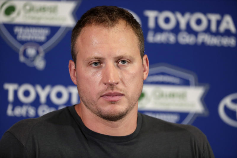 New York Giants offensive tackle Nate Solder speaks to reporters during NFL football training camp, Thursday, July 26, 2018, in East Rutherford, N.J. (AP Photo/Julio Cortez)