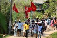 Protesters march against the military coup in Launglone township in Myanmar's Dawei district