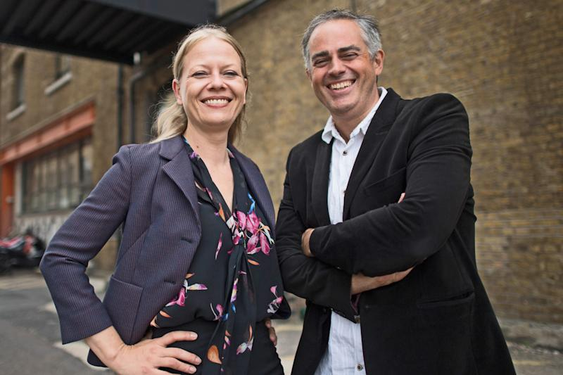 Newly appointed joint Green Party leaders, Sian Berry and Jonathan Bartley outside their party's headquarters in south east London following the Green Party leadership election result. (Photo by Stefan Rousseau/PA Images via Getty Images)