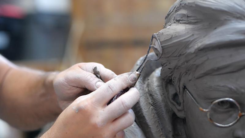 Sculptor Andrzej Szymczyk crafts a life-size dynamic statue of Harry Potter; played by Daniel Radcliffe; which will soon be installed in Leicester Square; the home of entertainment. (PA)