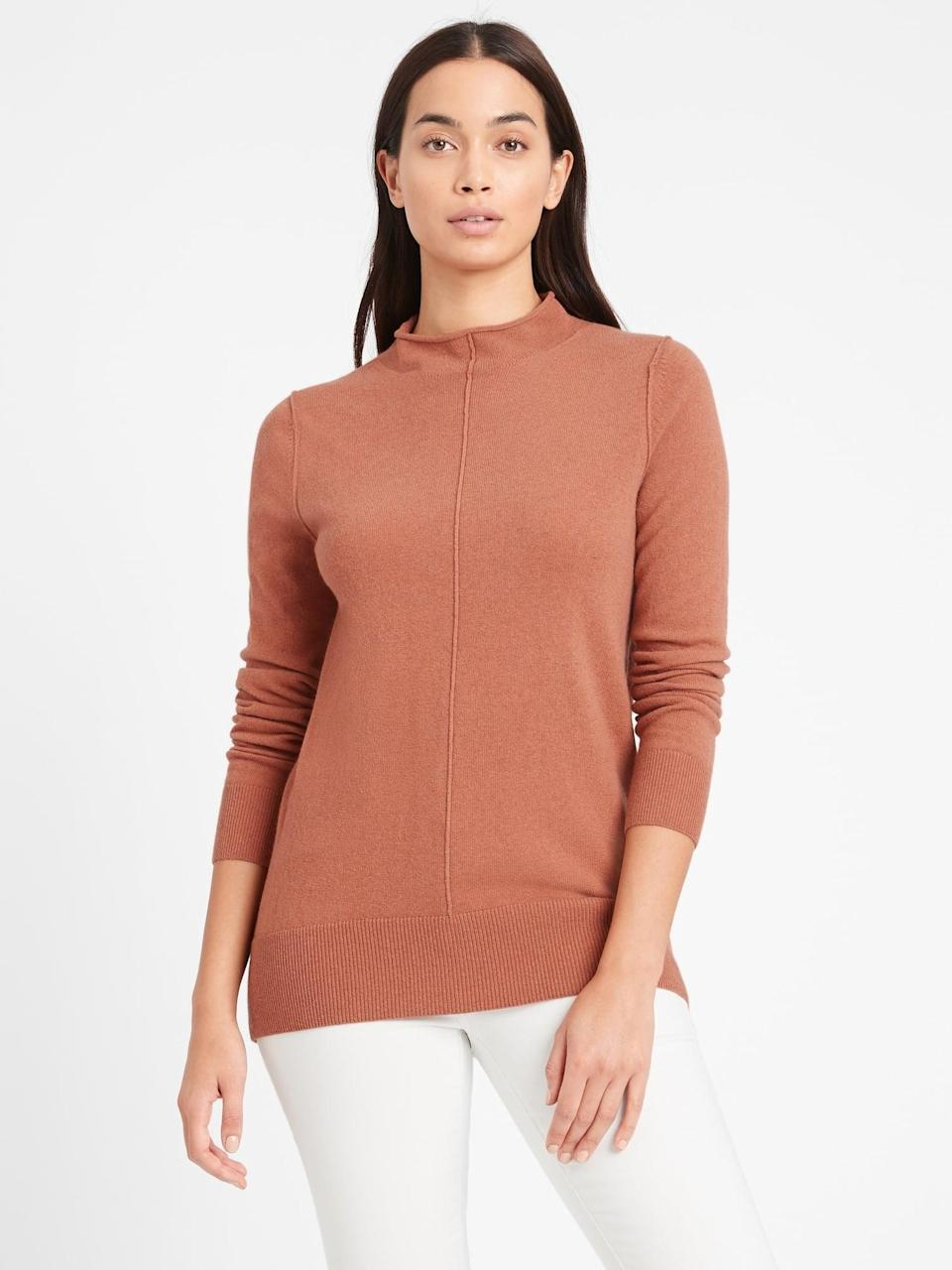 <p>Made with recycled wool and cashmere this <span>Banana Republic Italian Wool-Blend Sweater Tunic</span> ($29, originally $99) is the perfect weekend sweater. Polished but extremely comfortable pair this tunic with a pair of leggings and flats.</p>