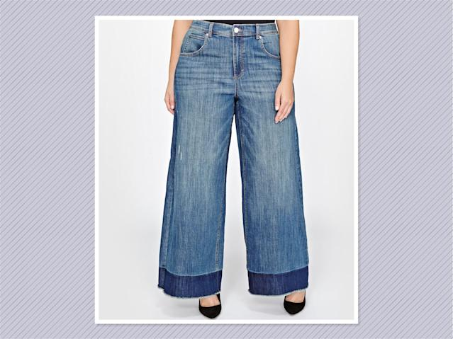"<p>L&L released hem wide-leg jeans, $120, <a href=""http://www.additionelle.com/en-us/landl-relased-hem-wide-leg-jeans/769880.html?dwvar_769880_color=Medium%20Wash%20Denim#q=jordyn&start=1"" rel=""nofollow noopener"" target=""_blank"" data-ylk=""slk:Addition Elle"" class=""link rapid-noclick-resp"">Addition Elle</a> (Photo: Addition Elle) </p>"