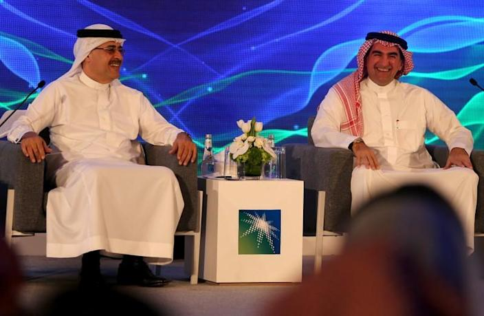 Amin H. Nasser, president and CEO of Saudi Aramco, and Yasser al-Rumayyan, Aramco's chairman, attend a news conference in Dhahran