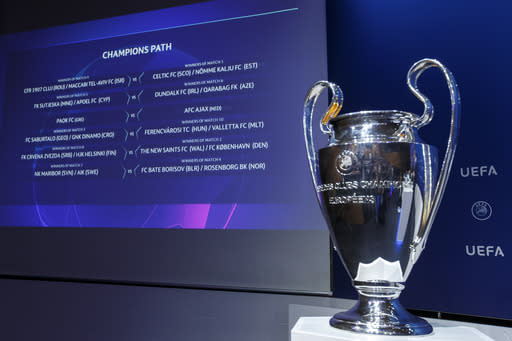 The group formations are shown on an electronic panel at the UEFA headquarters in Nyon, Switzerland, Monday, July 22, 2019 after the drawing of the matches for the Champions League 2019/20 third qualifying round. (Salvatore Di Nolfi/Keystone via AP)