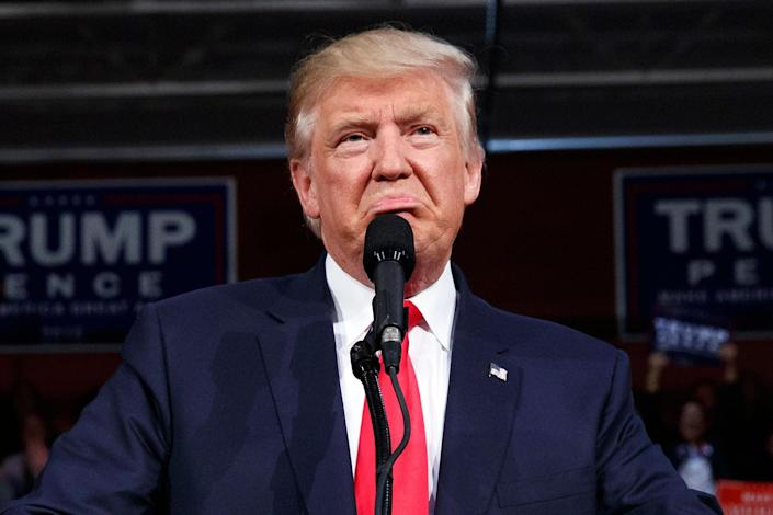 <p>Donald Trump speaks during a campaign rally, Monday, Oct. 10, 2016, in Ambridge, Pa. (AP Photo/ Evan Vucci) </p>