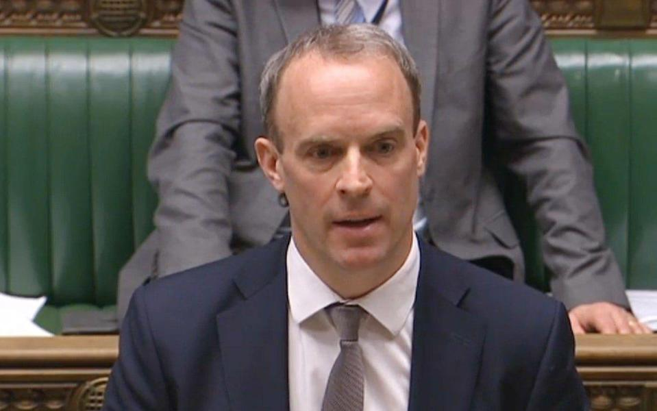 Foreign Secretary Dominic Raab refused to rule out another lockdown if there were another spike in cases in the new year - House of Commons/PA
