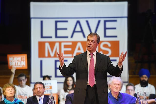 Nigel Farage speaking at a Leave Means Leave rally (PA)