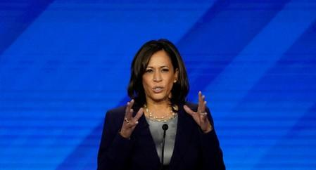 FILE PHOTO: Senator Kamala Harris speaks during the 2020 Democratic U.S. presidential debate in Houston