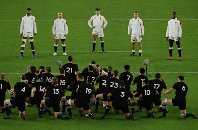Owen Farrell, centre, smirked as New Zealand performed their haka. (Photo by Richard Heathcote - World Rugby/World Rugby via Getty Images)