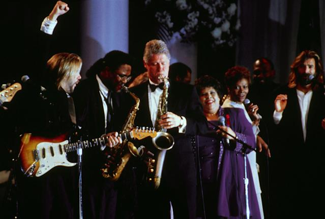 President Bill Clinton plays the saxophone at the Arkansas Inauguration Ball on the day of his inauguration as 42nd President of the United States on January 20, 1993. (Photo by Steve Novak/Consolidated News Pictures/Getty Images)