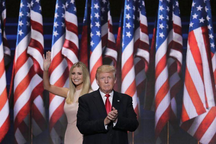 Ivanka Trump waves as she walks offstage after introducing her father at the Republican National Convention in Cleveland. (J. Scott Applewhite/AP)