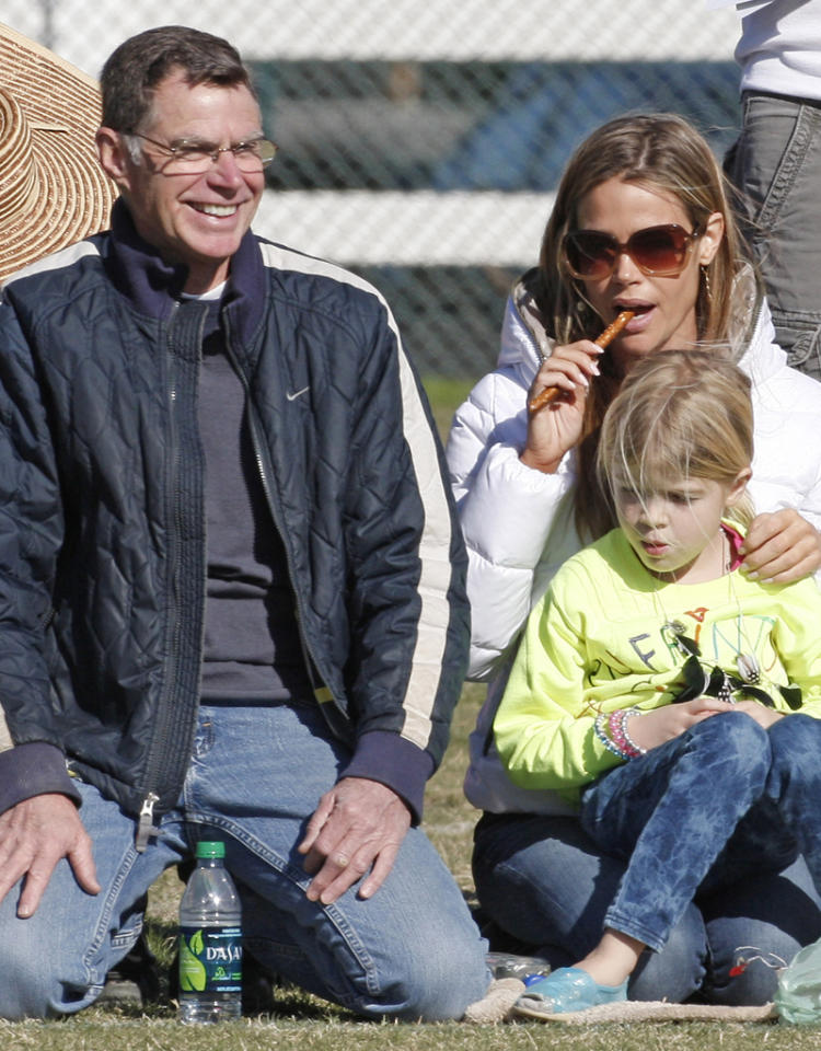 Denise Richards was joined by her dad to watch her daughter Sam play hockey on a cold blustery day in Los Angeles. Pictured: Denise Richards and Lola Rose Sheen  Ref: SPL340315  031211  Picture by: MAP  / Splash News   Splash News and Pictures Los Angeles:310-821-2666 New York:212-619-2666 London:870-934-2666 photodesk@splashnews.com