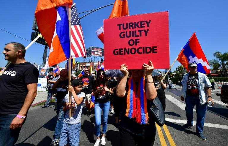 Thousands of people of Armenian descent and their supporters march through Hollywood in 2019 in remembrance of the 1915 Armenian genocide