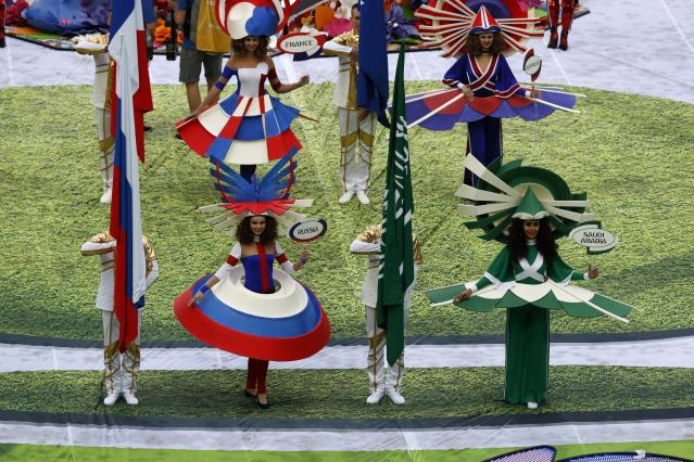 Artists perform before the group A match between Russia and Saudi Arabia which opens the 2018 soccer World Cup at the Luzhniki stadium in Moscow, Russia, Thursday, June 14, 2018. (AP Photo/Darko Bandic)