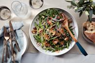 """Smash raw green beans to split them open at irregular points, allowing them to fully absorb a tangy, citrusy Thai-inspired dressing. Feel free to <a href=""""https://www.epicurious.com/holidays-events/new-thanksgiving-side-dishes-ideas-potatoes-butternut-squash-polenta-green-bean-salad-article?mbid=synd_yahoo_rss"""" rel=""""nofollow noopener"""" target=""""_blank"""" data-ylk=""""slk:make this easy recipe a day or two ahead"""" class=""""link rapid-noclick-resp"""">make this easy recipe a day or two ahead</a>—just reserve the crispy store-bought shallots for sprinkling on top. <a href=""""https://www.epicurious.com/recipes/food/views/smashed-green-bean-salad-with-crispy-shallots?mbid=synd_yahoo_rss"""" rel=""""nofollow noopener"""" target=""""_blank"""" data-ylk=""""slk:See recipe."""" class=""""link rapid-noclick-resp"""">See recipe.</a>"""