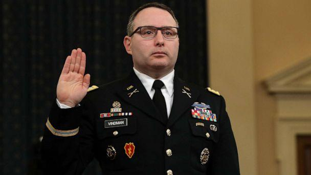 PHOTO: National Security Council Director for European Affairs Lt. Col. Alexander Vindman is sworn in to testify before the House Intelligence Committee in the Longworth House Office Building on Capitol Hill in Washington, Nov. 19, 2019. (Chip Somodevilla/Getty Images, FILE)