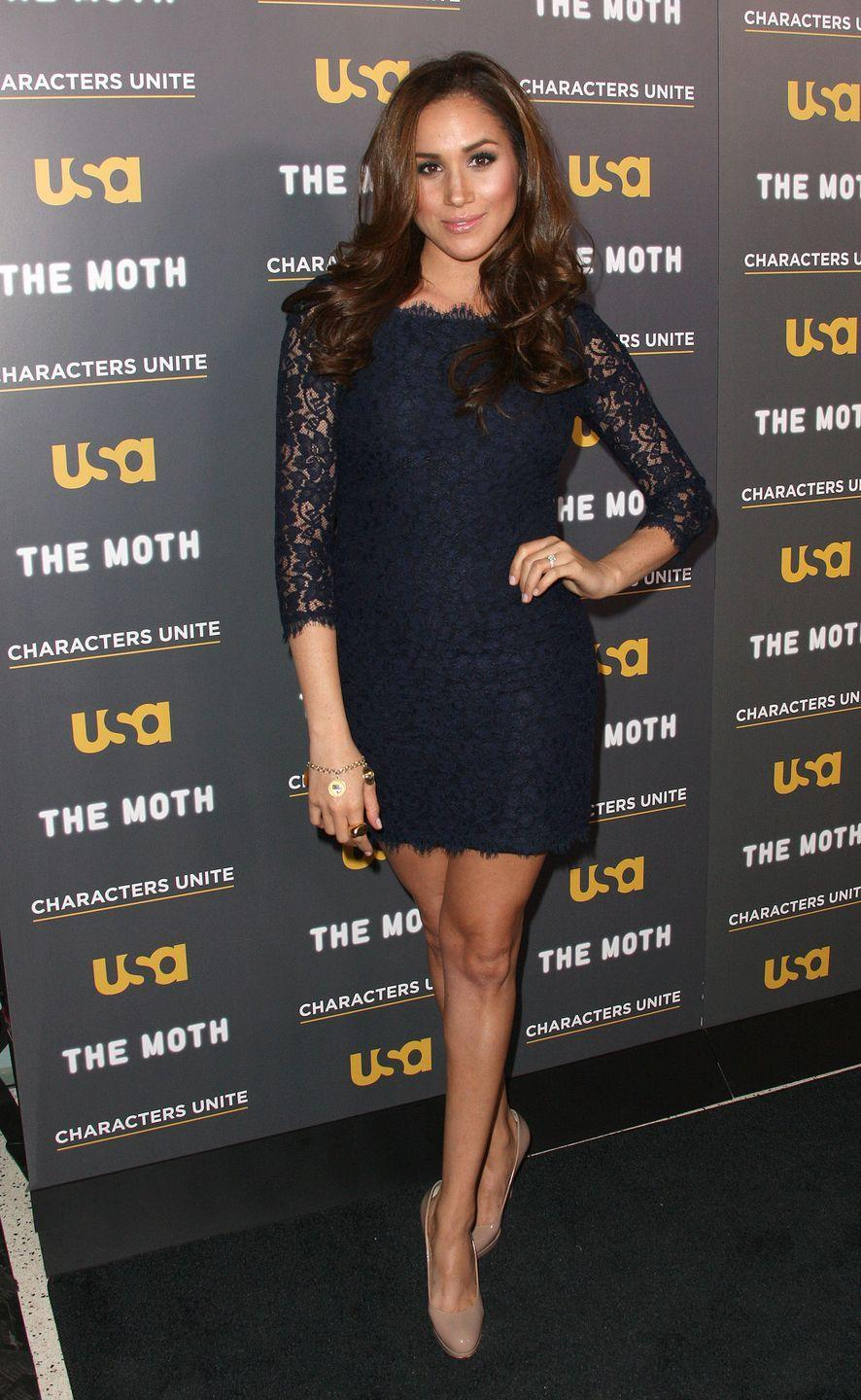 <p>Meghan wore a lacy LBD by Diane von Furstenberg at USA Network's and The Moth's Storytelling Tour 'A More Perfect Union: Stories of Prejudice and Power', in February 2012</p>