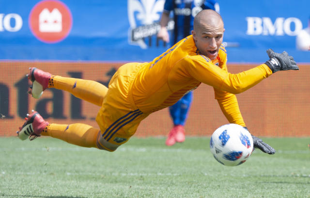 Montreal Impact goalkeeper Evan Bush led MLS in saves in 2018. (Paul Chiasson/The Canadian Press via AP)