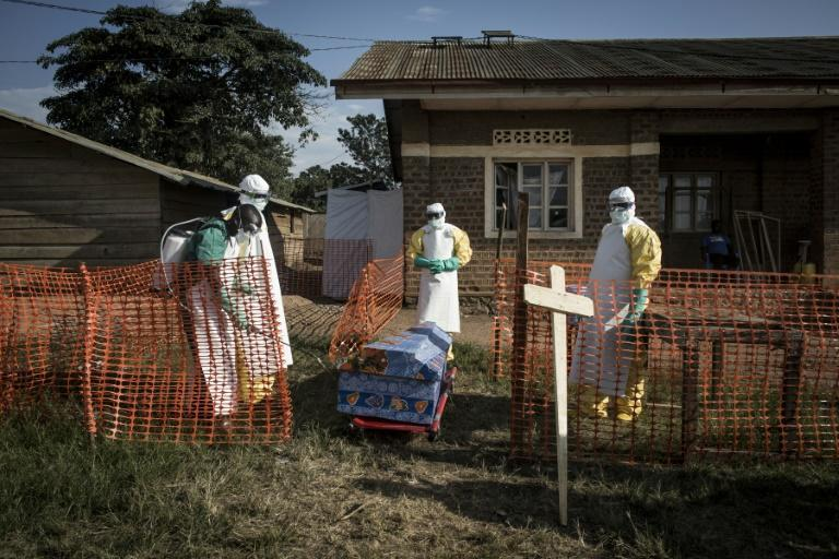 DR Congo medical workers disinfect the coffin an Ebola victim in 2018 -- the government announced the disease has returned