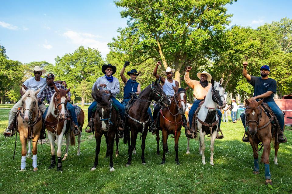 Black Chicagoan and Indiana horse owners ride through Washington Park on June 19, 2020, in Chicago. Juneteenth commemorates June 19, 1865, when a Union general read orders in Galveston, Texas, stating all enslaved people in Texas were free according to federal law.
